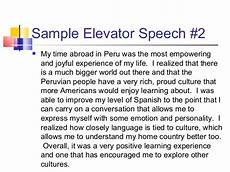 Elevator Speech Examples For Students Elevator Speech Samples