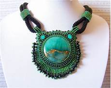 statement necklace beadwork bead embroidery pendant