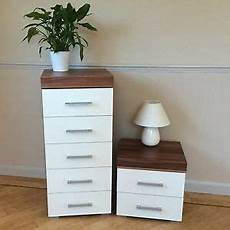 white walnut 5 drawer boy chest 2 drawer bedside