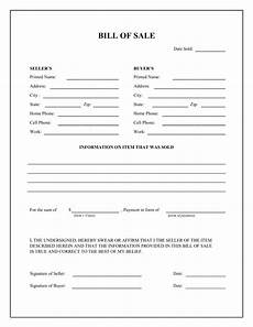 Free Printable Bill Of Sale Form Free General Bill Of Sale Form Download Pdf Word