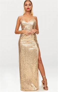Light Gold Sequin Dress Gold Sequin Extreme Split Plunge Maxi Dress