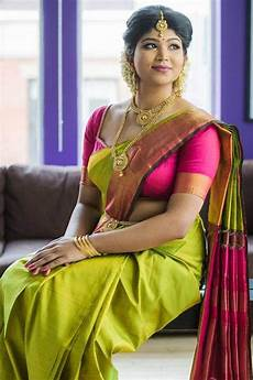 Light Green With Pink Saree Appealing Green Colored Pink Blouse Silk Base Saree Stri