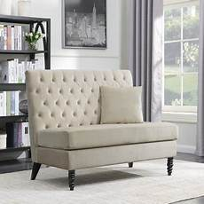 belleze beige modern loveseat bench sofa tufted settee