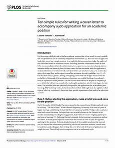 Academic Job Cover Letter Pdf Ten Simple Rules For Writing A Cover Letter To