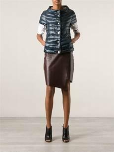 sleeve vest herno sleeved puffer jacket in grey blue lyst