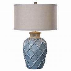 Beige Light Shade Parterre Coastal Style Pale Blue Ceramic Table Lamp With
