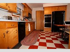 A 1965 kitchen updated with red checkerboard linoleum floor tile   Retro Renovation