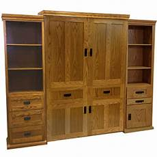 vertical wood mission murphy bed with side