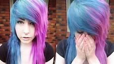 Half Pink Half Blue Bleaching Amp Dying My Hair Half Peacock Blue Half Pink