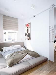 Contemporary Bedroom Design Small Space Loft Bed Couple White Cream Bedroom Low Level Bed Interior Design Ideas