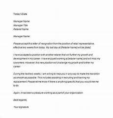 Two Weeks Notice Letter Retail Two Weeks Notice Letter 10 Free Sample Example Format