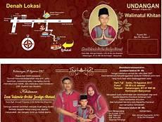 desain undangan khitan full color merah maron cdr