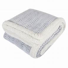 grey embossed rope fleece blanket soft sherpa sofa bed throw