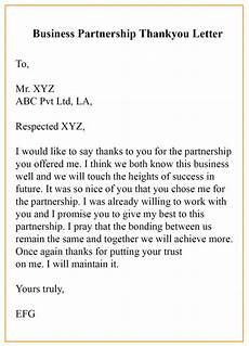Sample Thank You Business Letters Sample Thank You Letter For Business Partnership With Example