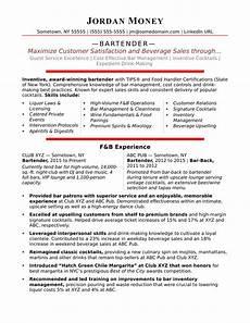 New Bartender Resume Bartender Resume Sample Monster Com