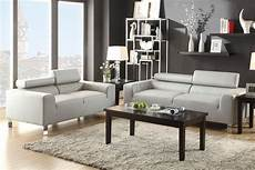 f7265 sofa loveseat set light grey bonded leather by poundex