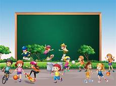 Children Playing Background Frame Design With Many Children Play In Park Background