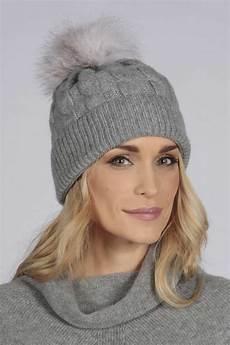 knit beanie light grey fur pom pom cable knit beanie hat