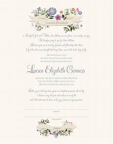 Christening Certificate Baptism Certificate Christening Certificate Flower
