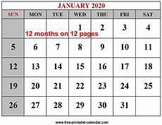 Blank 2020 Calendar By Month To Print Year 2020 Calendar Templates Free Printable Calendar Com