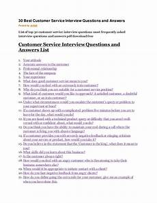 Interview Question And Answers For Customer Service Representative 30 Best Customer Service Interview Questions And Answers