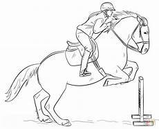 jumping with rider coloring page free printable