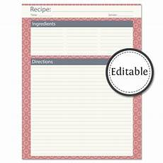 Editable Recipe Page Template Recipe Card Full Page Fillable Instant Download