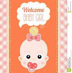 Welcome Baby Girl Welcome Baby Girl Card Stock Vector Illustration Of Gift