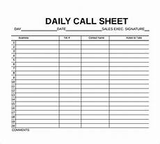 Sales Call Sheets Free 10 Sample Call Sheet Templates In Ms Word Pdf