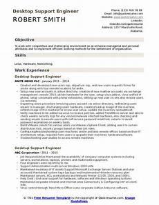 Resume Of Desktop Support Engineer Desktop Support Engineer Resume Samples Qwikresume