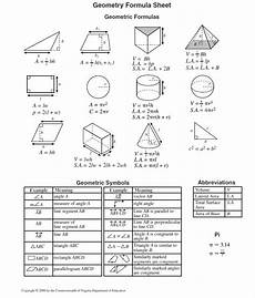 Geometric Formula Geometry Formula Sheet