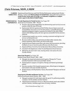 Working Skills Resume Social Work Resume Objective Statement