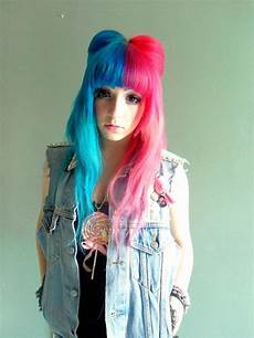 Half Pink Half Blue Half Blue Half Pink Hair Pinterest Pink