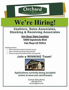 Now Hiring Template Flyer Job Opportunities At Orchard Supply Hardware In Van Nuys