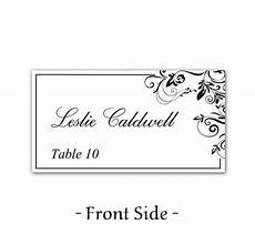place card template on word instant classic elegance black leaf ornate