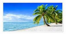 Malvorlagen Meer Und Strand Englisch Urlaub Am Strand Mit Palmen Und Meer Poster