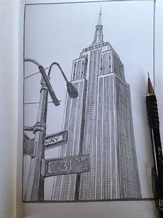 City Building Sketches Empire State Building New York Sketch Drawing New York