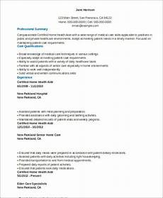 Home Health Care Resume Free 7 Sample Home Health Aide Resume Templates In Ms