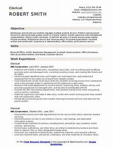 Clerical Resume Template Clerical Resume Samples Qwikresume