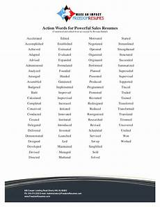 Key Action Words For Resume Action Words For Successful Sales Resumes