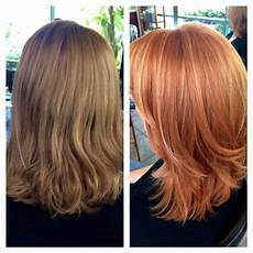Light Brown Hair With Strawberry Highlights Before And After We Went From A Cool Light Brown To A