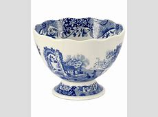 Spode Dinnerware, Blue Italian Footed Bowl   Dinnerware