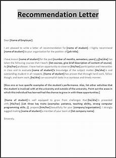 Letter Of Recommendation Sample Template Job Recommendation Letter Free Word Templates