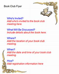 Book Flyers Examples Free Book Club Flyer Templates