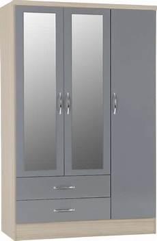 nevada 3 door 2 drawer mirrored wardrobe grey gloss