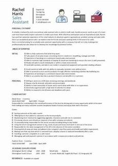 Sample Retail Cv Sales Assistant Cv Example Shop Store Resume Retail