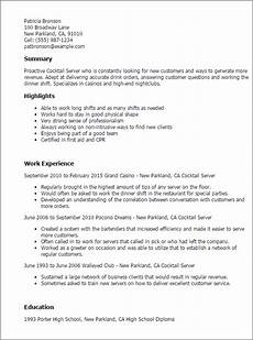 Cocktail Server Resume 1 Cocktail Server Resume Templates Try Them Now
