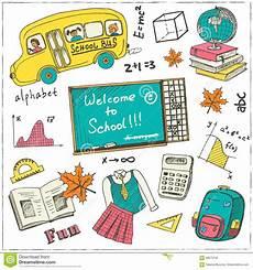 set of school drawings on chalkboard sketches