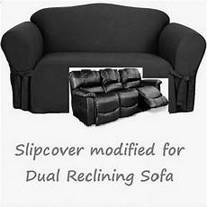 Cover Reclining Sofa 3d Image by Dual Reclining Sofa Slipcover Black Cotton Sure Fit