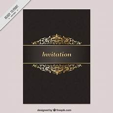 Golden Template Invitation Card Vector Free Download